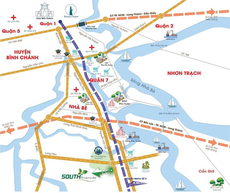 Nhà Bè tiếp giáp với nhiều khu vực quan trọng của Thành phố Hồ Chí Minh