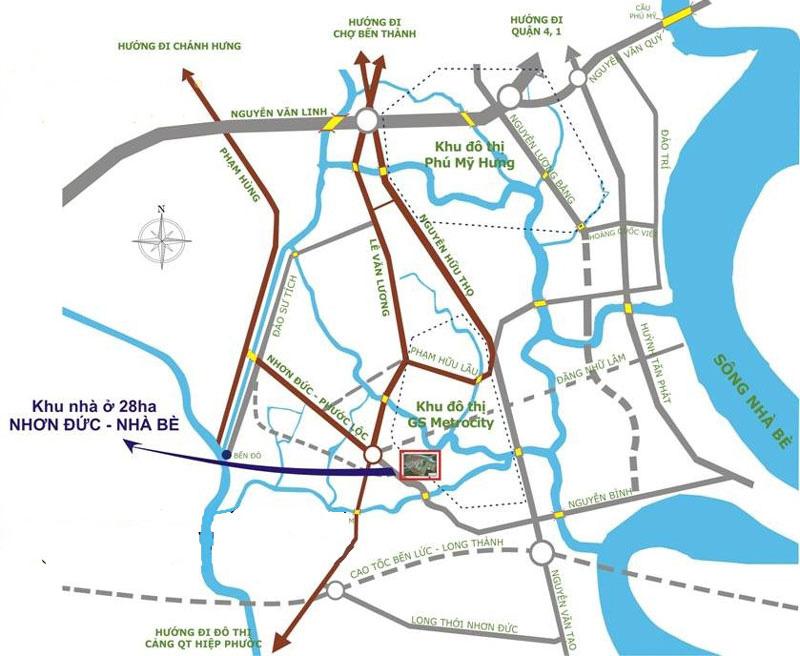 GS Metro City Nhà Bè sở hữu vị trí đắc địa ngay tại huyện Nhà Bè